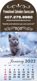 Kittens & Puppies Large Dome Shaped Header Adhesive Calendar