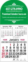 3-Month View Stick-Up Arch Header Calendar