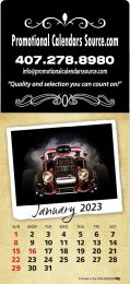 Classic Cars Stick-Up Calendar with Large Square Adhesive Header Top