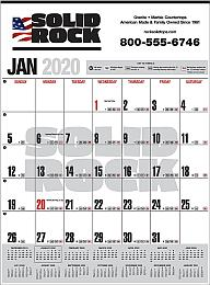 Contractor Calendar w Full Color Ad Imprint, Black & Red grid, Size 14