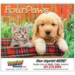 Four Paws Puppies & Kittens Wall Calendar  Spiral