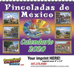 Pinceladas de Mexico Calendar w Spiral Binding