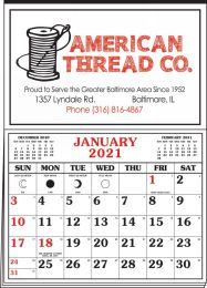 Memo Master Half Apron Calendar - 2-Color Red-Black Imprint 20.5x28.55