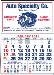 3-Months-In-View Half Apron Calendar - 2-Color Red-Blue Imprint 20.5x28.55