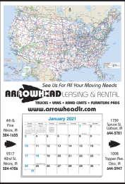Mid Size U.S. Map full Apron Calendar w 12 Month Pad 17x25