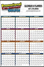 Year-In-View Wall Planner Calendar with Multicolor Grid 25x38