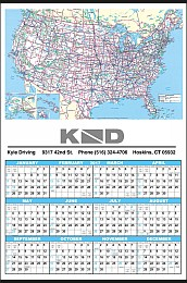 Mid Size U.S. Map Year In View Calendar 17x25