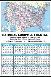 Large Year-In-View Calendar with Rand McNally U.S.A. Map, Size 25
