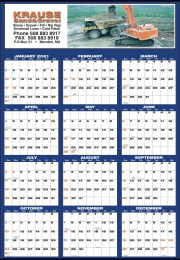 Large Custom Year-In-View Wall Calendar Full Color, 27x39