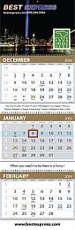 3-Month View 4 Panel Custom Calendar with Dop Ads 13x39.5