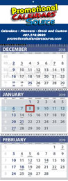 Custom 3-Month View Promo Calendar, Large Week Numbers, Four Panel, 13x34
