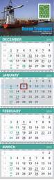 4-Month View 5 Panel Commercial Calendar 13x42