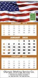 3-Month View Single Panel Commercail Calendar, 12x24, Spiral binding